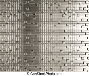 Cubic metallic creative background Geometric chrome pattern...