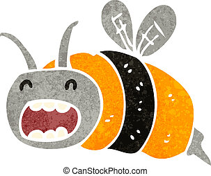 retro cartoon bee - Retro cartoon illustration. On plain...