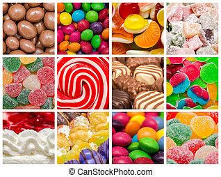 słodki, tło, collage