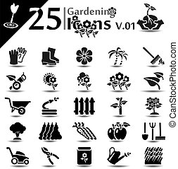 Gardening Icons v01 - Gardening icon set, basic series