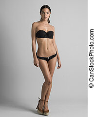 young model - sexy young woman posing for a model agency in...
