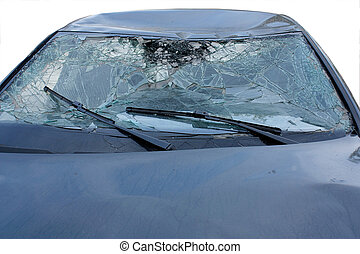 car after crash - car after an accident with broken glass