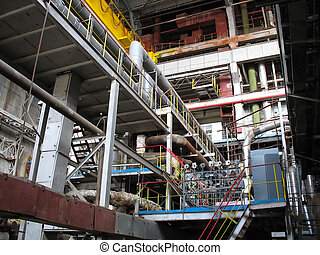 Machinery, tubes and steam turbines inside power plant