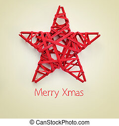 merry xmas - a red christmas star and the sentence merry...