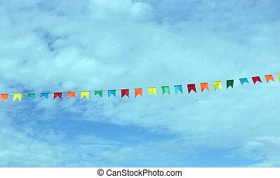 papel, banderas, cielo