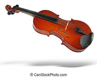 Musical classic violin with shadow isolated on white...