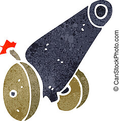 retro cartoon medieval cannon - Retro cartoon illustration...