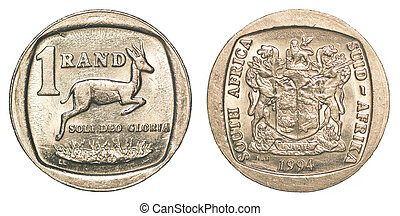 one south african rand coin isolated on white background