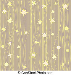 Stripy pattern with stars - Golden stripy seamless pattern...