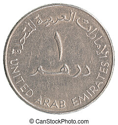 one United Arab Emirates dirham coin isolated on white...