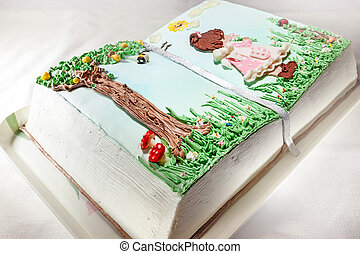 Birthday cake - Details of a birthday cake, with picture of...