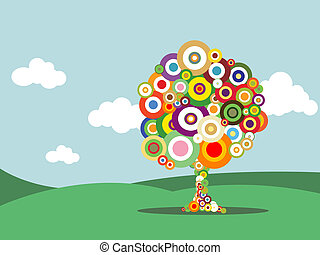 Abstract tree with colorful bubbles