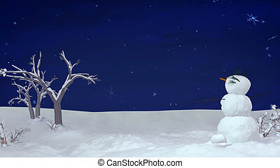 Christmas snowman at night - Snowman can use for Christmas...