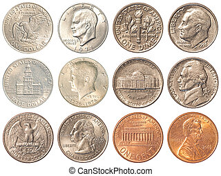 USA coins isolated on white background - a collection of all...