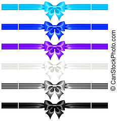 Bows with ribbons of cool colors - Vector illustration -...