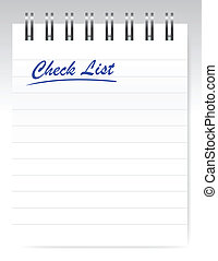 check list notepad illustration design over a white...