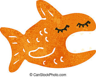 retro cartoon fish - Retro cartoon illustration. On plain...