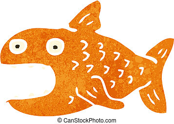retro cartoon fish - Retro cartoon illustration On plain...