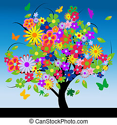 Abstract tree with flowers illustration