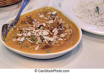 East Indian Food Lamb Korma Curry with Rice - East Indian...