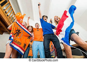 Excited Dutch sports fans