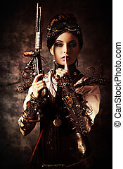 beautiful - Portrait of a beautiful steampunk woman holding...