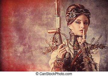 fantasy heroine - Portrait of a beautiful steampunk woman...