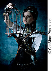 mechanical lady - Portrait of a beautiful steampunk woman...