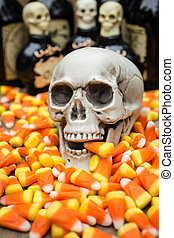 Halloween Candy Corn - A skull taking a bit out of classic...