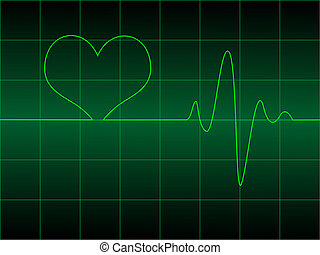 Heart cardiogram with heart on it illustration