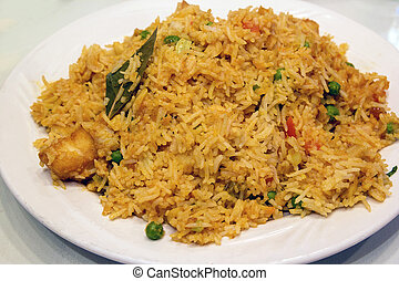 East Indian Biryani Rice Dish Closeup - East Indian Biryani...