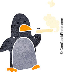 retro cartoon penguin smoking cigarette - Retro cartoon...