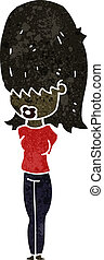 retro cartoon teen girl with big hair