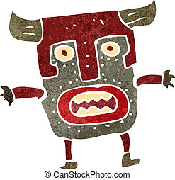 retro cartoon tribal mask man - Retro cartoon illustration....