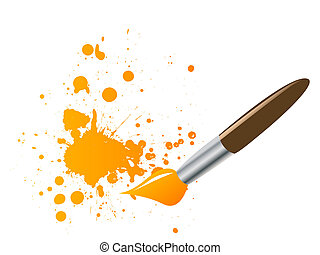 Paintbrush with ink splats