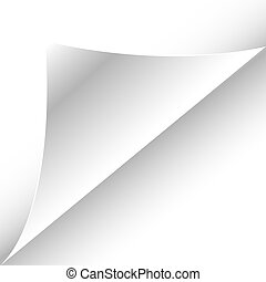 white paper page with curl, with space for your text,