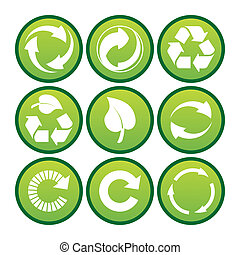 set of  recycling icons