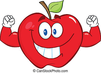 Smiling Apple With Muscle Arms - Smiling Apple Cartoon...