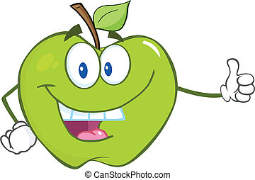 Green Apple Holding A Thumb Up