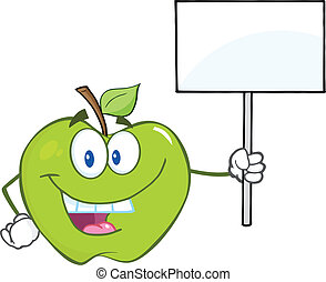 Apple Holding Up A Blank Sign - Happy Green Apple Cartoon...