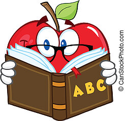 Smiling Apple Teacher Character Reading A Book