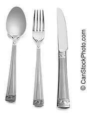 spoon, knife and fork flatware isolated on white