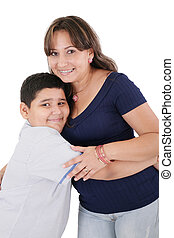 Happy young mother and her son posing together. Isolated...