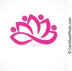 Pink lotus flower logo - Pink lotus flower icon logo vector...