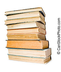 old books isolated - stack of old books isolated on white