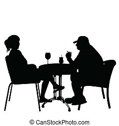 Couple in cafes. Silhouettes of people in urban life, vector...