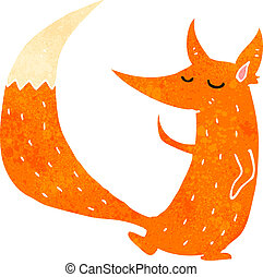retro cartoon cute fox - Retro cartoon illustration On plain...