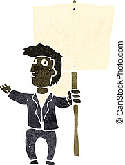 retro cartoon man with placard - Retro cartoon illustration...