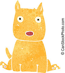 retro cartoon puppy - Retro cartoon illustration. On plain...