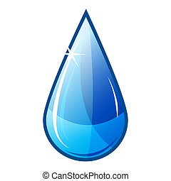illustration icon of blue water drop falling